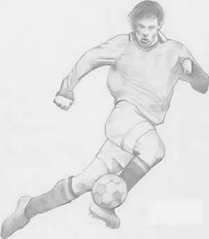 drawing of a soccer player one