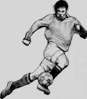 drawing of a soccer player four
