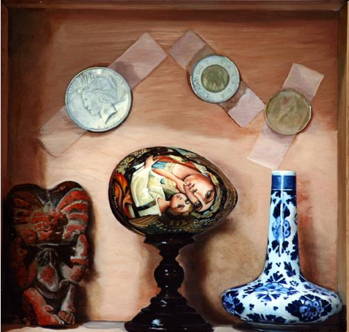 David Eichenberg, Three Religions and a Tear Catcher, Oil on Oak Panel in a Cigar Box, 2008