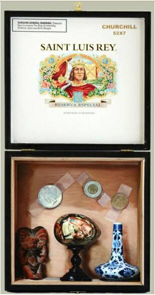 David Eichenberg, Three Religions and a Tear Catcher, Oil on Oak Panel in a Cigar Box open view, 2008