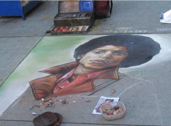 Hani Shihada sidewalk mural of Michael Jackson