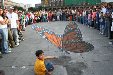 Julian Beever Meeting Madame Butterfly, Mexico City