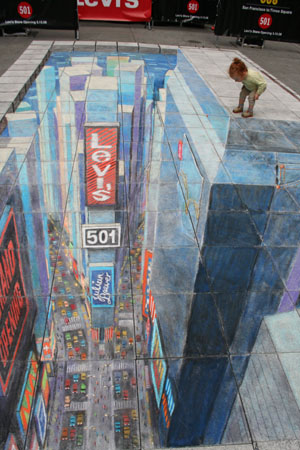 Julian Beever Time Square, Time Square NYC