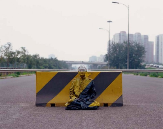 Liu Bolin Hiding in the City No. 51-Road Block 2007