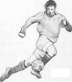 Drawing of a soccer player two
