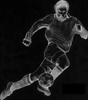 drawing of a soccer player five