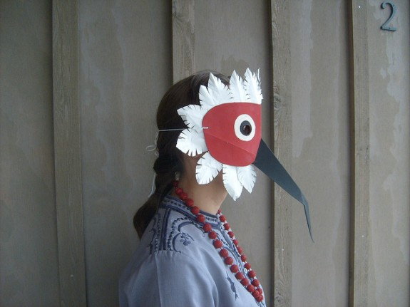Bird Mask Made From Recycled Cereal Box and Tyvek Mailer by Elizabeth Abernathy