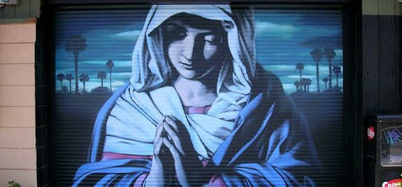 El Mac (Mike Mac MacGregor) Nuestra Senora del Desierto (Sassoferrato), Spraypaint on steel, Phoenix, USA 2006
