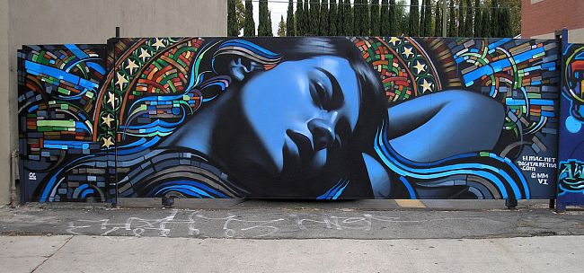 El Mac (Mike Mac MacGregor) The Voice of Reason (CC) Background by Retna, Spraypaint and acrylic on street, Los Angeles, USA 2006