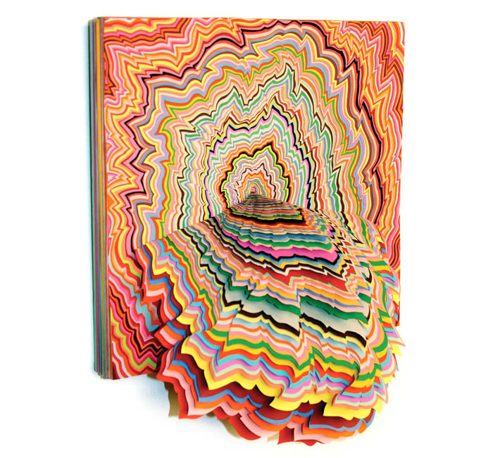 Jen Stark, Flash Spectrum, hand-cut paper 2007