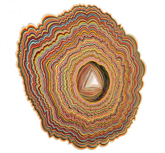 Jen Stark, Microscopic Entrance, hand-cut paper 2007