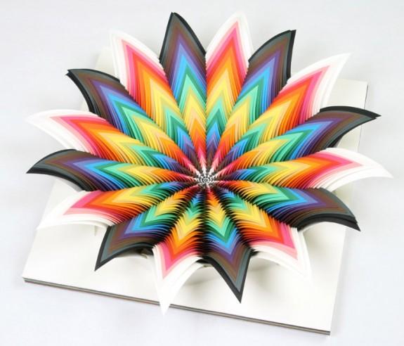 Jen Stark, Spectral Zenith, hand-cut paper 2008