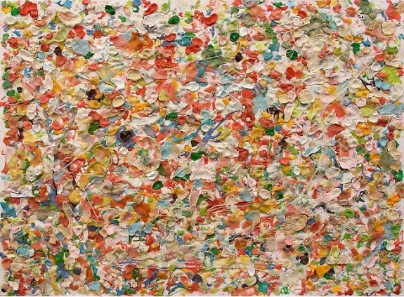 Untitled, 2010, Chewing gum on canvas by Dan Colen