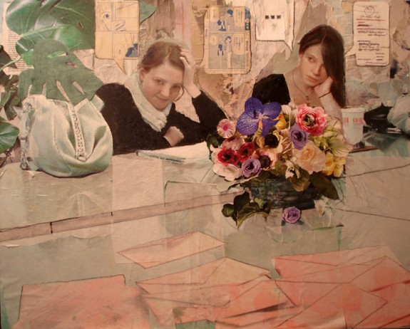 Summer intern(ment) 2009 by Ann Marshall, Oil on canvas and paper collage