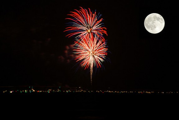 Full Moon Fireworks Fireworks With Full Moon by