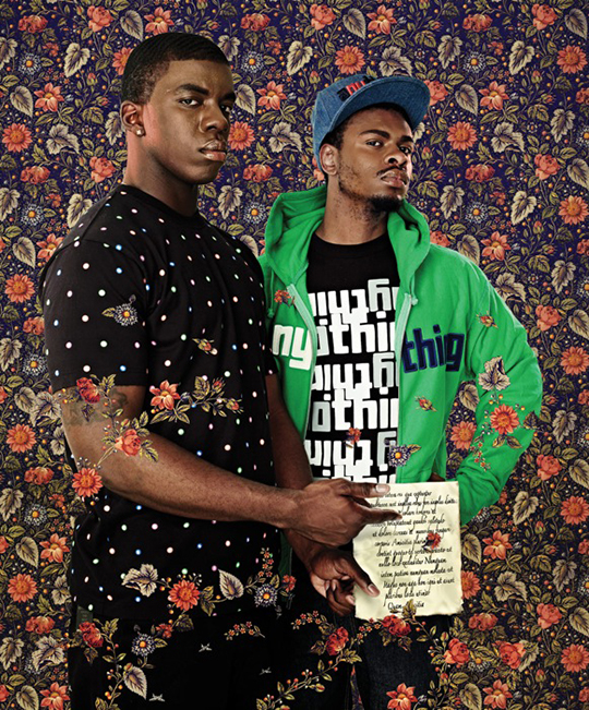 After Pontormos Two Men with a Passage from Ciceros on Friendship, Black Light series, Photograph 2009 Kehinde Wiley