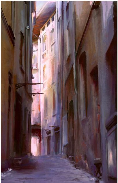 Alley, Digital Painting 2009 by Fredrik Rattzen