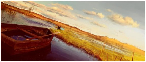 Boats, Digital Painting 2009 by Fredrik Rattzen