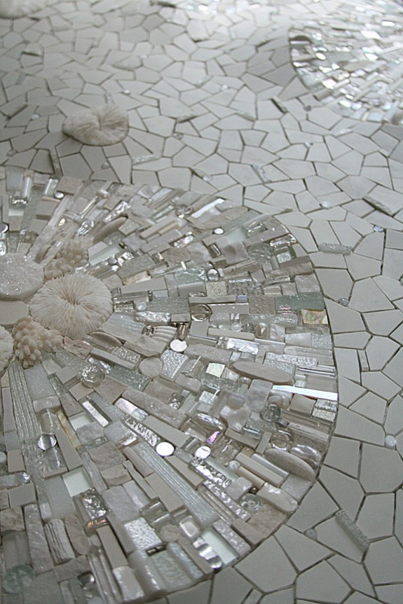 Permafrost (detail) 2009 by Sonia King, glass, ceramic, coral, white gold, smalti, quartz, silver, marble, rock crystal, seashell, pearls, aluminum, selenite, abalone, pebbles