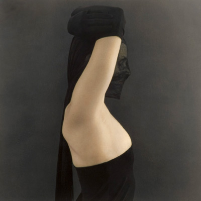Raised Arms, Black Veil 2005 hand painted gelatin silver print by Susan Fenton