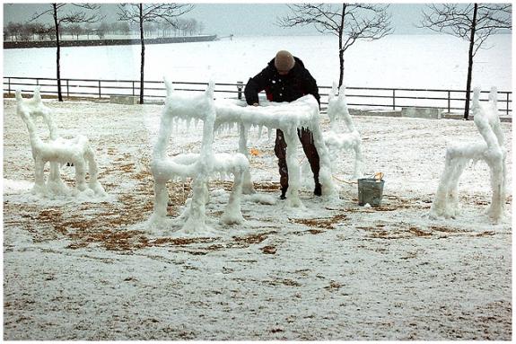 Snow Furniture Dancing at Milwaukee Art Museum(2) by Hongtao Zhou