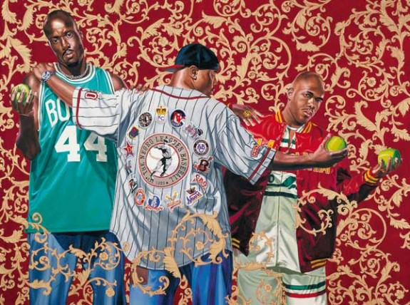 The Three Graces, 2005 Oil and enamel on canvas by Kehinde Wiley