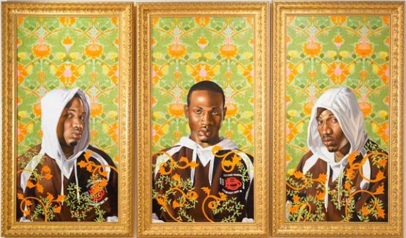 Triple Portrait of Charles I 2007 oil on canvas by Kehinde Wiley