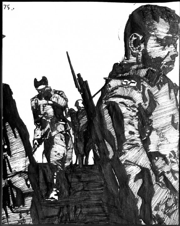 Zak Smith's Illustrations for each page of Gravity's Rainbow, page 75, Schwarzkommando