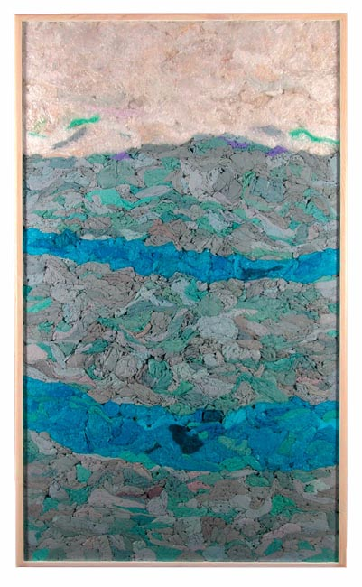 Blue River, recycled plastic bag art by John Dahlsen