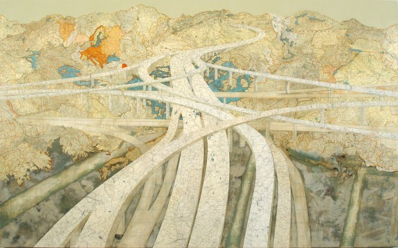 Course of Empire (Mixmaster II), 2006, Maps and acrylic on wood panel by Matthew Cusick