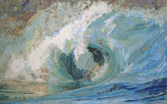 Fiona's Wave, 2006, Maps on wood panel by Matthew Cusick