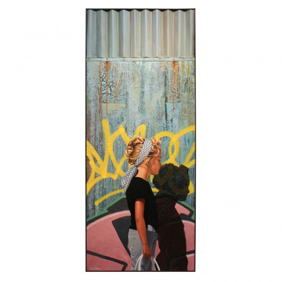Headband, 60 x 25, oil on panel with corrugated metal, by Kevin Peterson