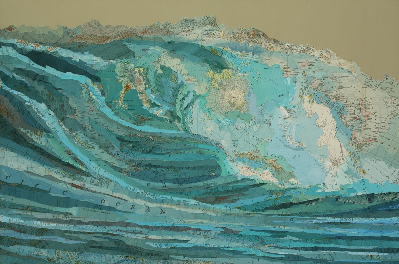 Karas Wave Inlaid Maps And Acrylic On Aluminum Panel By Matthew Cusick