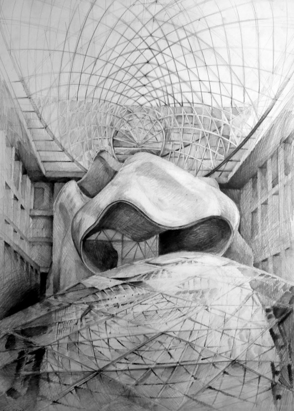 Architect Frank Gehry, DZ Bank, Berlin, drawing by Klara Ostaniewicz