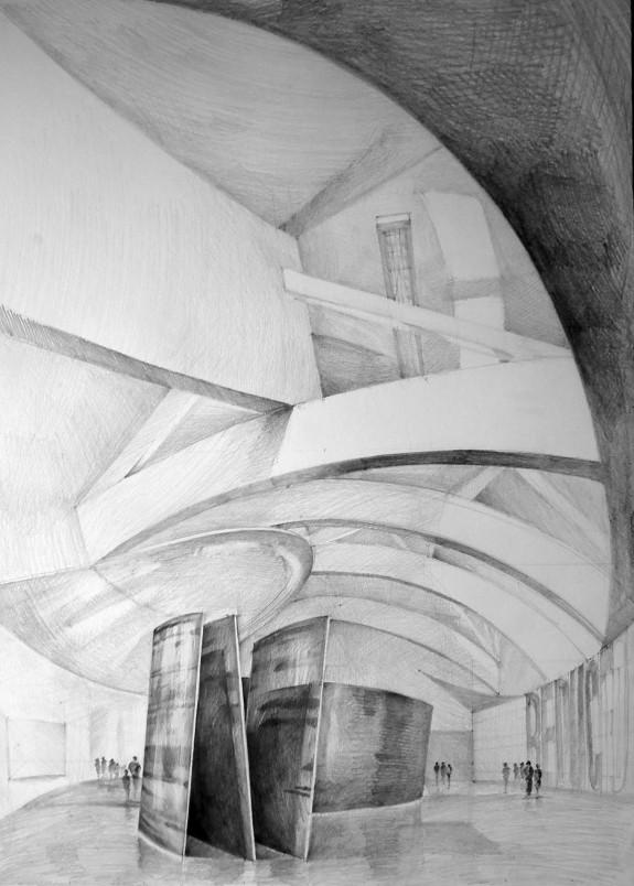Architect Frank Gehry, Guggenheim Museum, Bilbao, drawing by Klara Ostaniewicz
