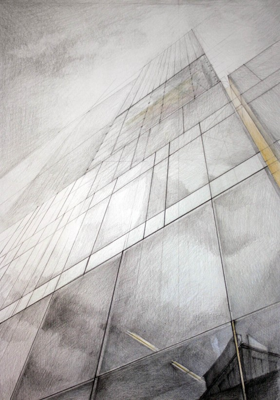 Architect Jean Nouvel, Sofitel, Vienna, drawing by Klara Ostaniewicz
