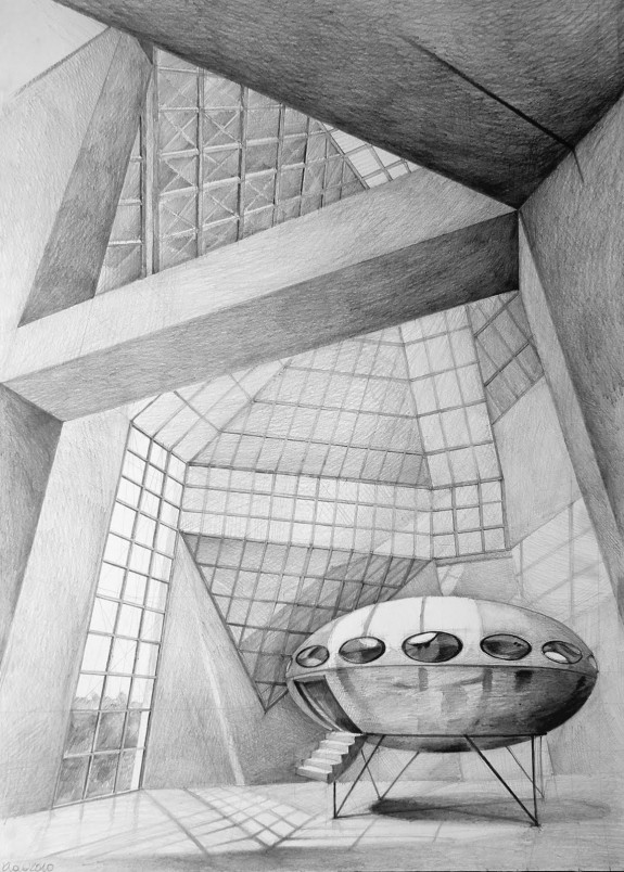 Architect Ming Pei, Grand Duke Jean Museum of Modern Art, Luxembourg, drawing by Klara Ostaniewicz