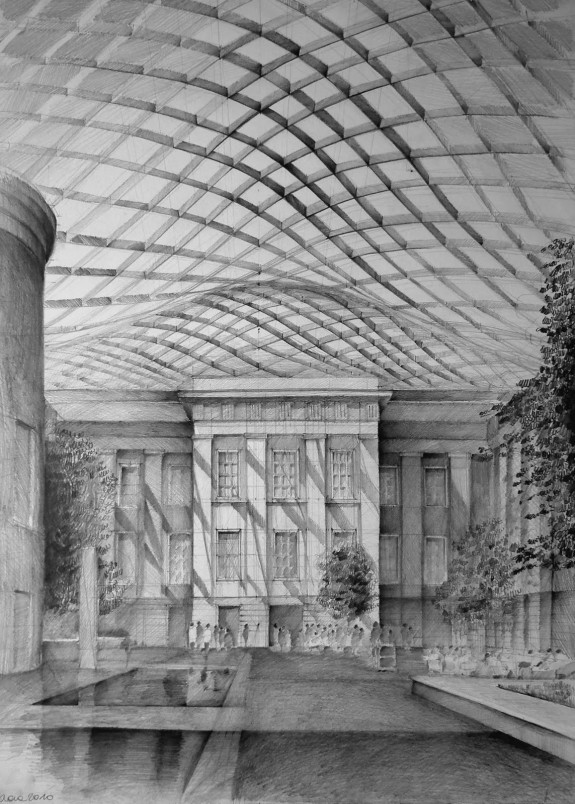Architect Norman Foster, British Museum, London, drawing by Klara Ostaniewicz