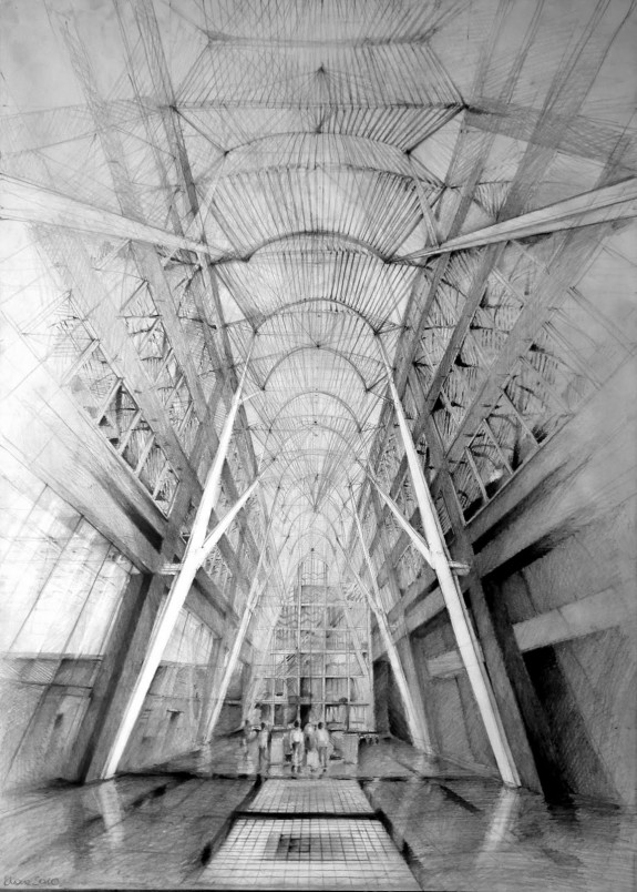 cool architecture drawing. Architect Santiago Calatrava, Allen Lambert Galleria, Toronto, Drawing By Klara Ostaniewicz Cool Architecture C