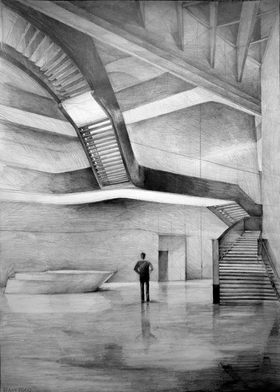 Architect Zaha Hadid, MAXXI - national museum of XXI century art, Rome, drawing by Klara Ostaniewicz