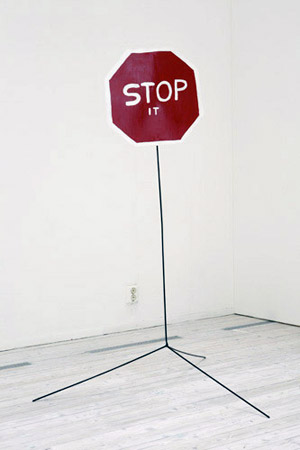 Stop It, steel and enamel paint sculpture 2007 by David Shrigley