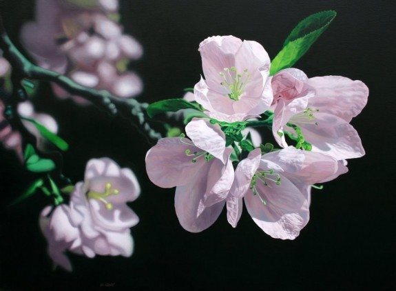Apple Blossoms, acrylic on canvas, Jason de Graaf