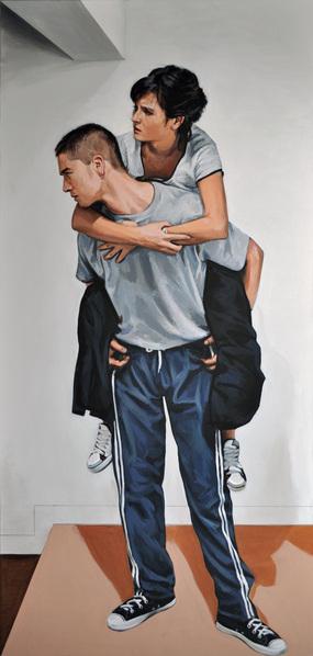Dos personajes, Acrílico sobre lienzo, painting by Pablo Guzman, 2010
