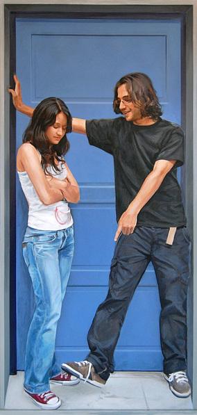 Puerta azul, Acrílico sobre lienzo, painting by Pablo Guzman, 2008