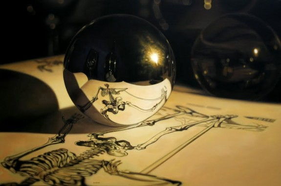 Vesalius Skeleton, acrylic on canvas, by Jason de Graaf