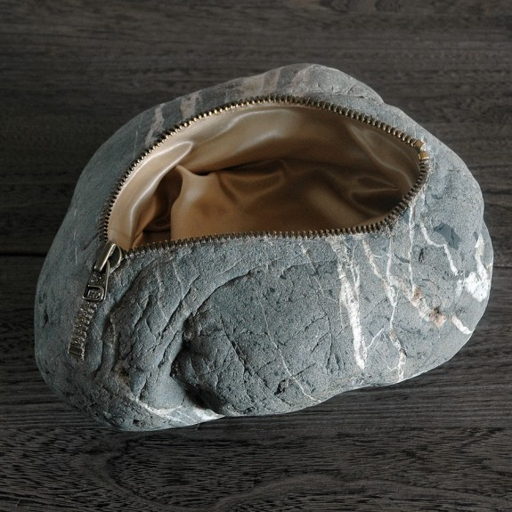 Stone Bag, stone sculpture by Jiyuseki (Hirotoshi Itoh)