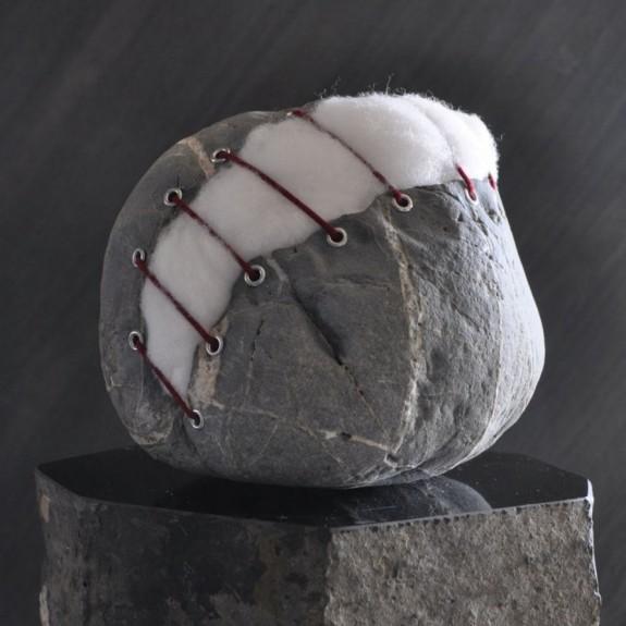 Stuffed Stone, stone sculpture by Jiyuseki (Hirotoshi Itoh)