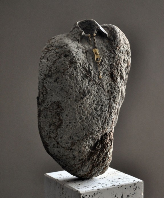 Zip Up Shirt 3, stone sculpture by Jiyuseki (Hirotoshi Itoh)