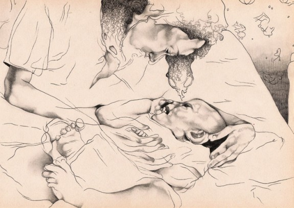 nursery rhymes, pencil and ink on paper, 2004-2005 by Maureen Gubia