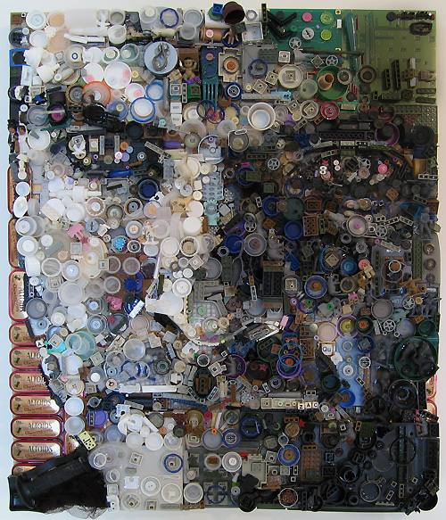 Self Portrait 2008 Assemblage on board by Zac Freeman